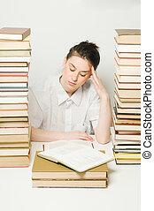diák, fáradt