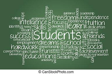 diák, kapcsolódó, szó, felhő