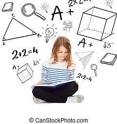 diák, leány, tanulás, és, olvasókönyv