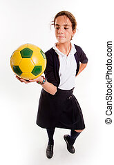 diáklány, focilabda