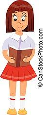 diáklány, könyv, kéz