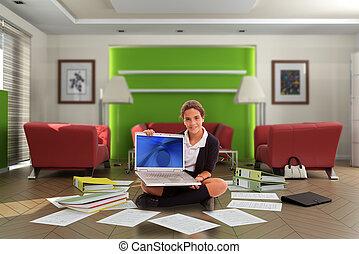 diáklány, noha, számítógép, alatt, mocskos, nappali