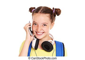 diáklány, társalgás telefon