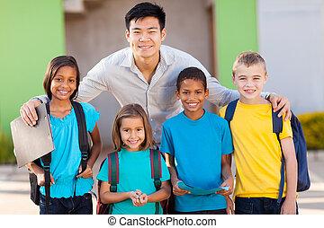 diákok, általános iskolai tanár, szabadban