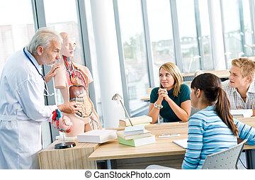 diákok, egyetemi tanár, anatómiai, emberi, formál, orvosi