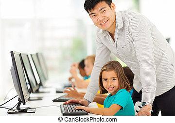 diákok, elemi iskola, számítógép, tanár