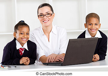 diákok, elemi, tanár