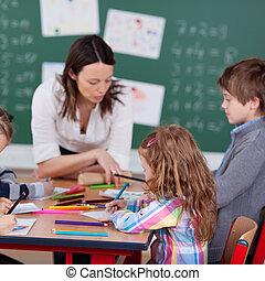 diákok, elfoglalt, tanár