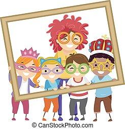 diákok, fénykép, gyerekek, stickman, tanár