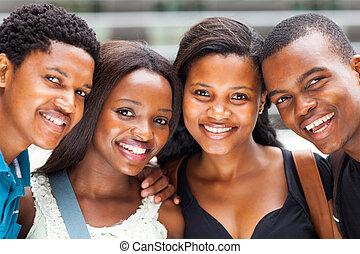 diákok, főiskola, amerikai, closeup, afrikai