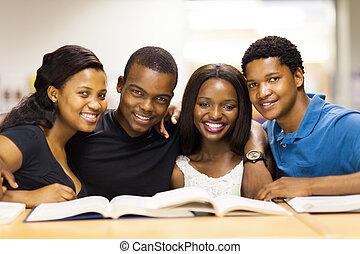 diákok, főiskola, amerikai, csoport, afrikai