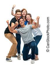 diákok, főiskola, csoport