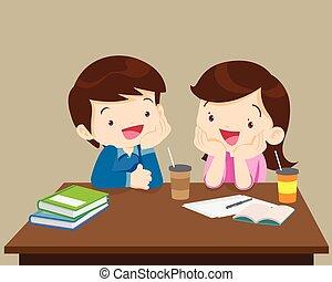 diákok, fiú, leány, barátságos, ülés
