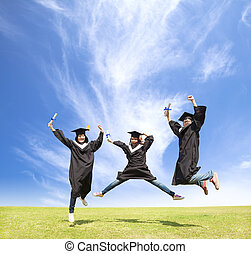 diákok, fokozatokra osztás, ugrás, főiskola, ünnepel, boldog