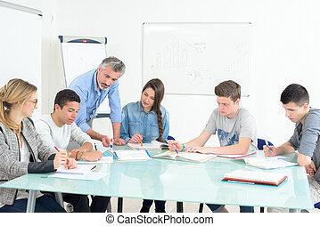 diákok, folyik, képzés, tervezés
