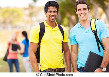 diákok, hím, főiskola, két, szabadban