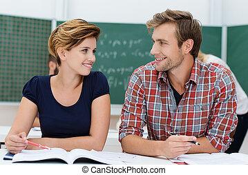 diákok, hím young, női, bájos