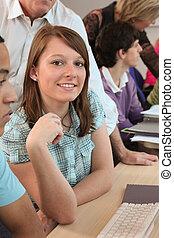 diákok, használ, számítógépek, osztály