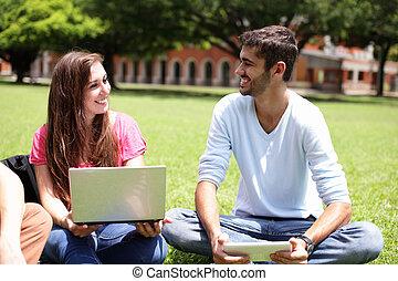 diákok, használt computer, főiskola, boldog