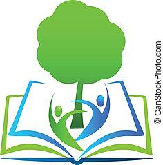 diákok, jel, könyv, fa