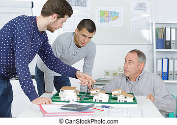diákok, képzés osztály, építészet