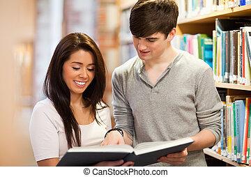 diákok, látszó, könyv, boldog