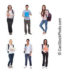 diákok, multi-, csoport, faji