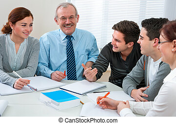 diákok, osztályterem, tanár