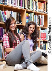 diákok, portré, könyv, birtok, női