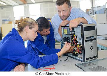 diákok, számítógép, dolgozó