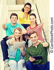 diákok, számítógép, mosolygós, számítógép, tabletta