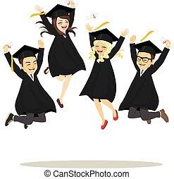 diákok, ugrás, boldog