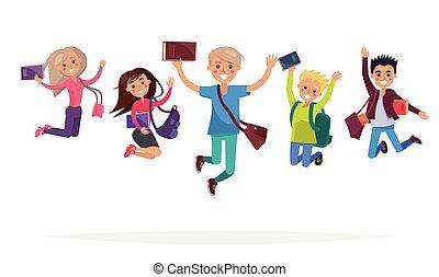 diákok, ugrás, csoport, elszigetelt, ábra