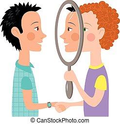 diálogo, duas pessoas, espelho