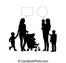 diálogo, entre, dos, madres, de, niños jóvenes