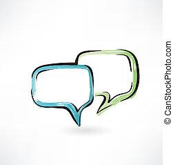 diálogo, grunge, ícone