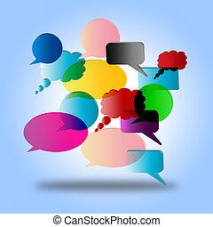diálogo, indica, burbuja del discurso, oratoria, hablar