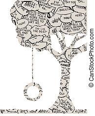 diálogo, neumático, árbol, libro, columpio, cómico