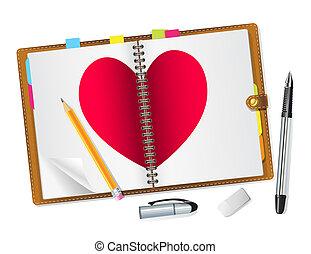 diário, coração, abertos, vermelho