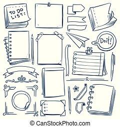 diário, esboço, jogo, bala, girly, frames., vindima, diário, etiquetas, mão, papel, banners., vetorial, caderno, doodle, desenhado, elements.