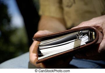 diário, mãos