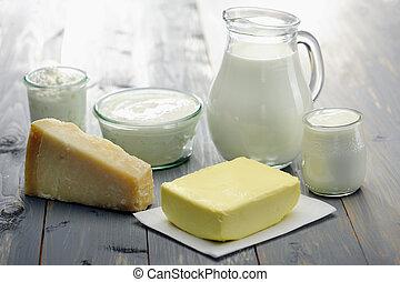 diário, produtos, leite, yogurt, e, manteiga