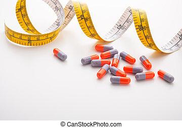 diät, band, ergänzungen, pillen, messen