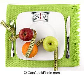 diät, concept., früchte, mit, messendes klebeband, auf, a, platte, mögen, gewichtsskalenfaktor