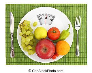 diät, und, ernährung