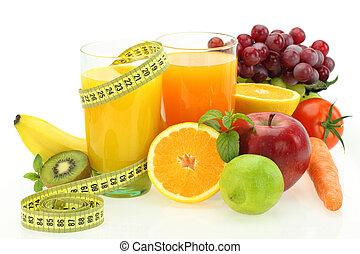 diät, und, nutrition., frische früchte, gemuese, und, saft