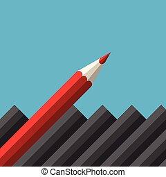 dièse, unique, crayon rouge