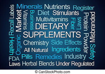 diététique, suppléments, mot, nuage