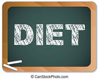 diéta, írott, képben látható, tábla, noha, chalk.