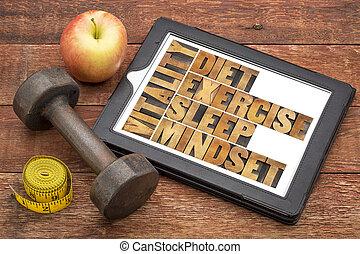 diéta, alszik, gyakorlás, és, mindset, -, vitalitás